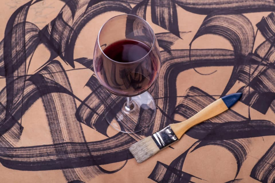 Wine and brush strokes