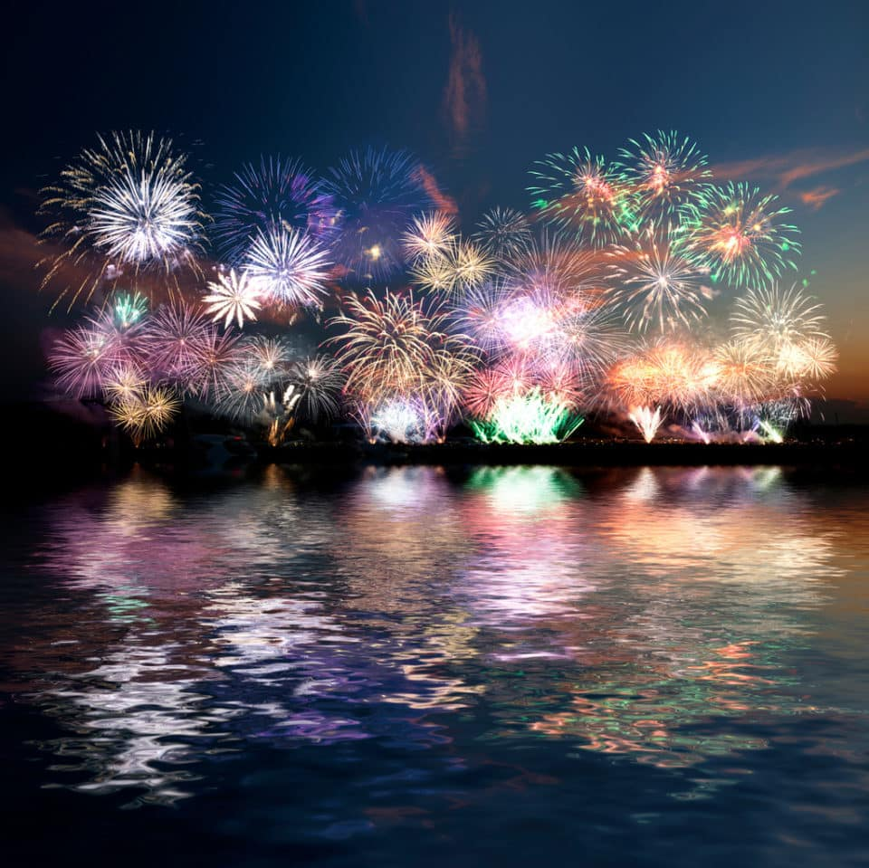 Fireworks show over water