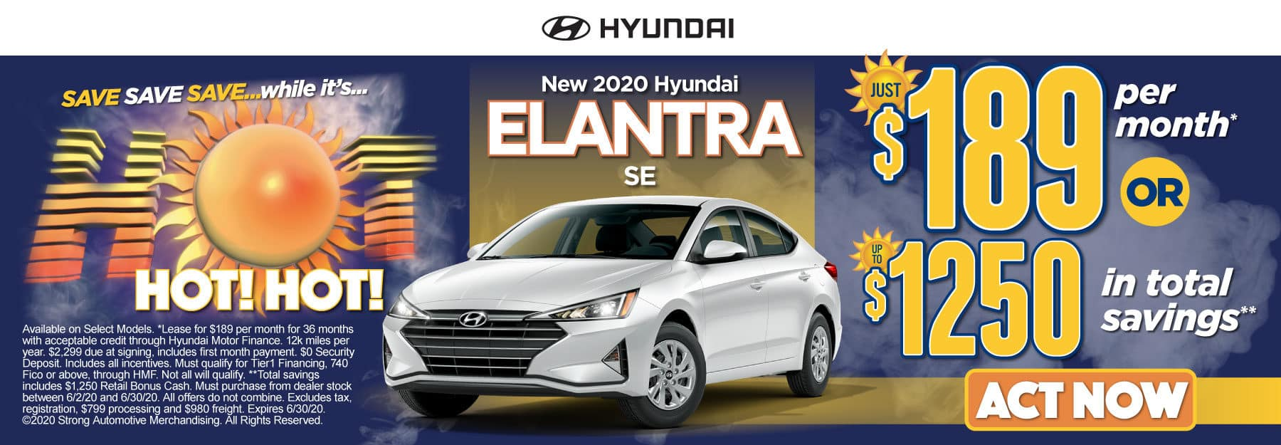New 2020 Hyundai Elantra - Just $189 per month or up to $1250 in total savings - Click to View Inventory