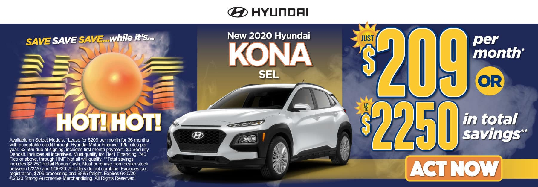 New 2020 Hyundai Kona - Just $209 per month or up to $2250 in total savings - Click to View Inventory