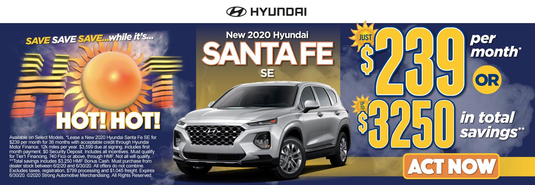 New 2020 Hyundai Santa Fe - Just $239 per month or up to $3250 in total savings - Click to View Inventory
