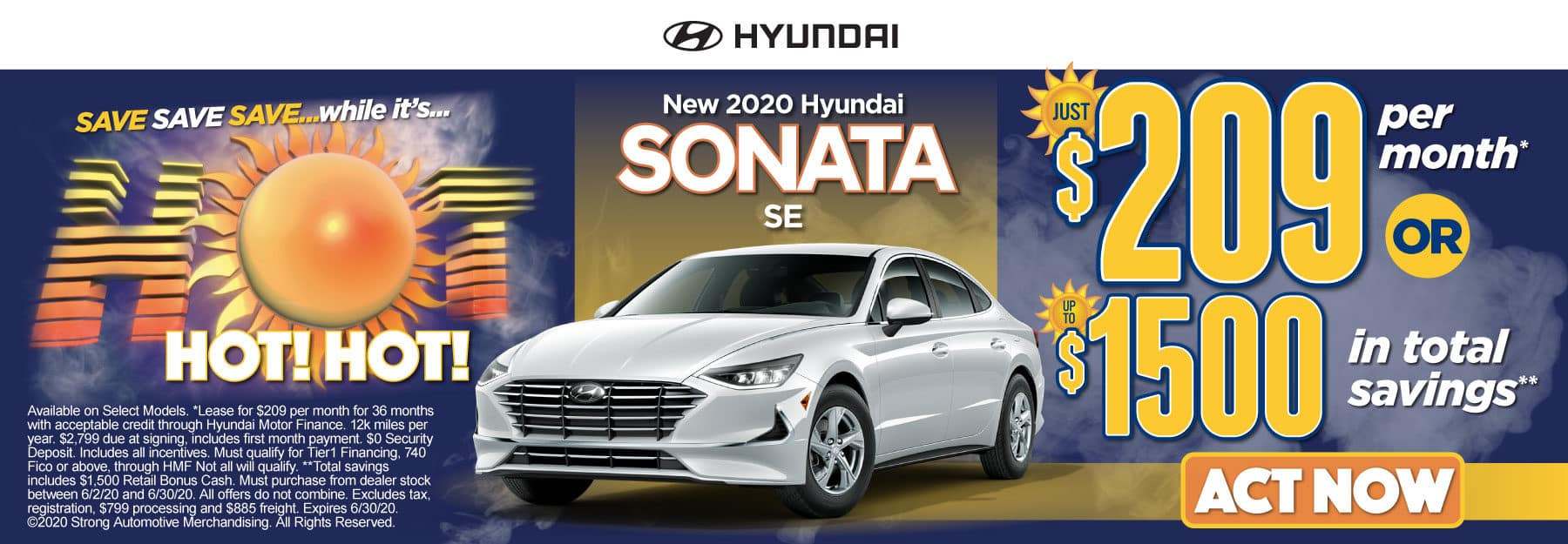 New 2020 Hyundai Sonata - Just $209 per month or up to $1500 in total savings - Click to View Inventory