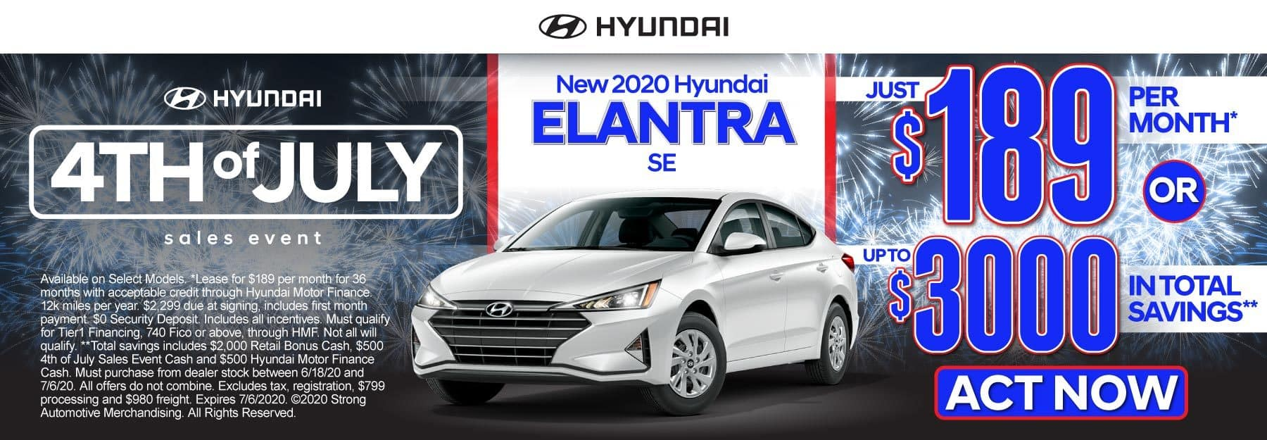 New 2020 Hyundai Elantra - Just $189 per month or up to $3000 in total savings - Click to View Inventory