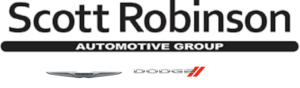 Logo for Scott Robinson Automotive Group. Also includes logos for Honda, Chrysler, Dodge, Jeep, and RAM.