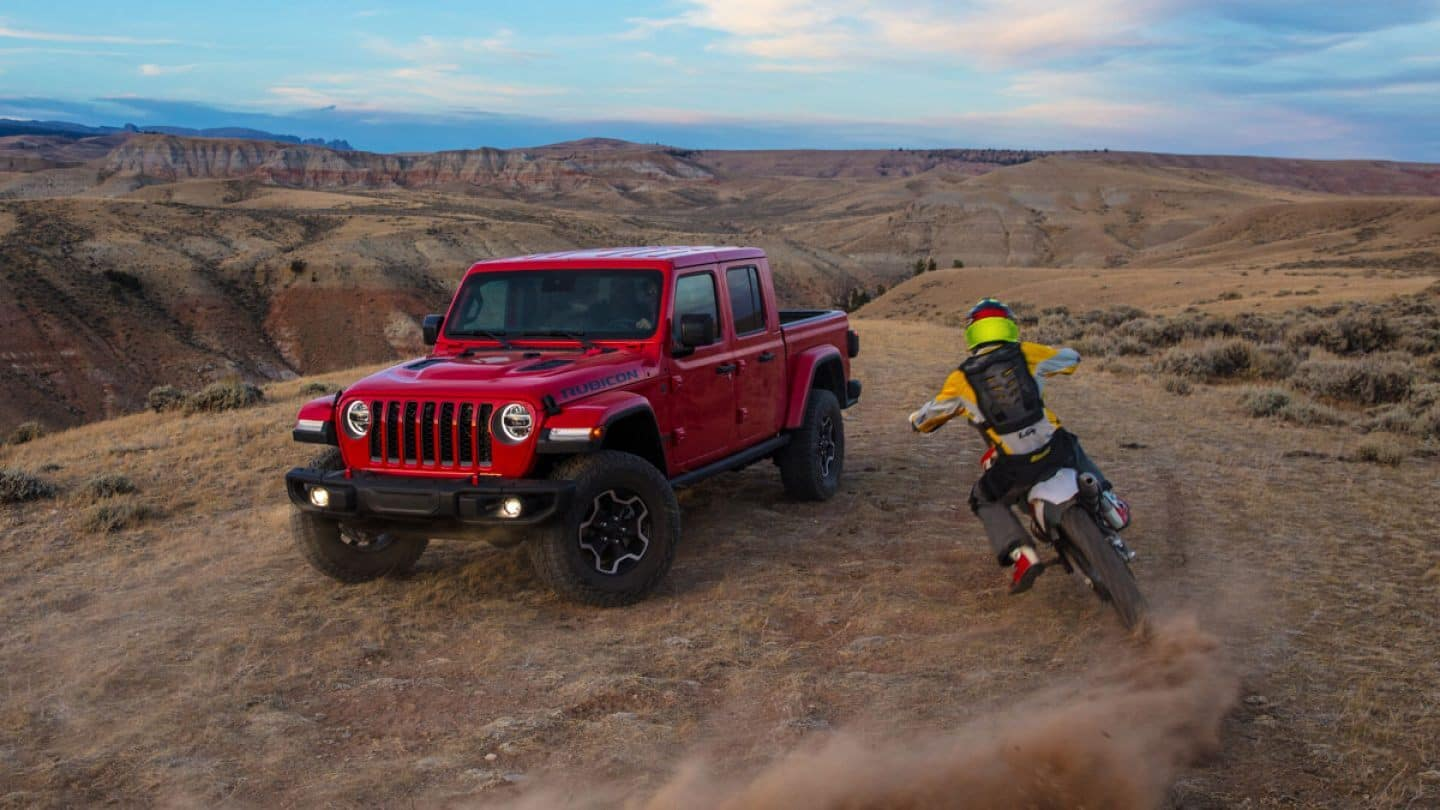 jeep with motorcycle