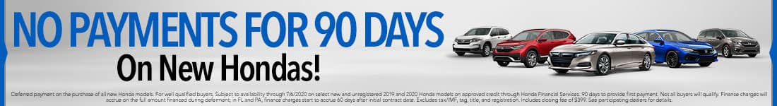 No Payments for 90 days on New Hondas-June Offer