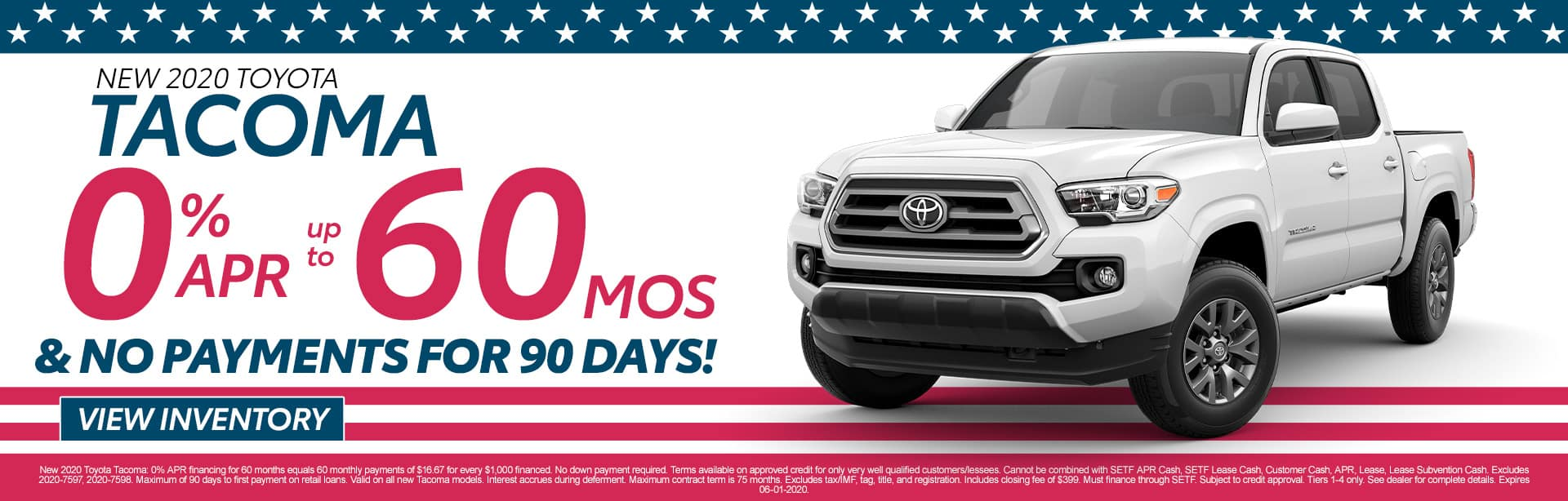2020 Toyota Tacoma | 0% APR for 60 Months