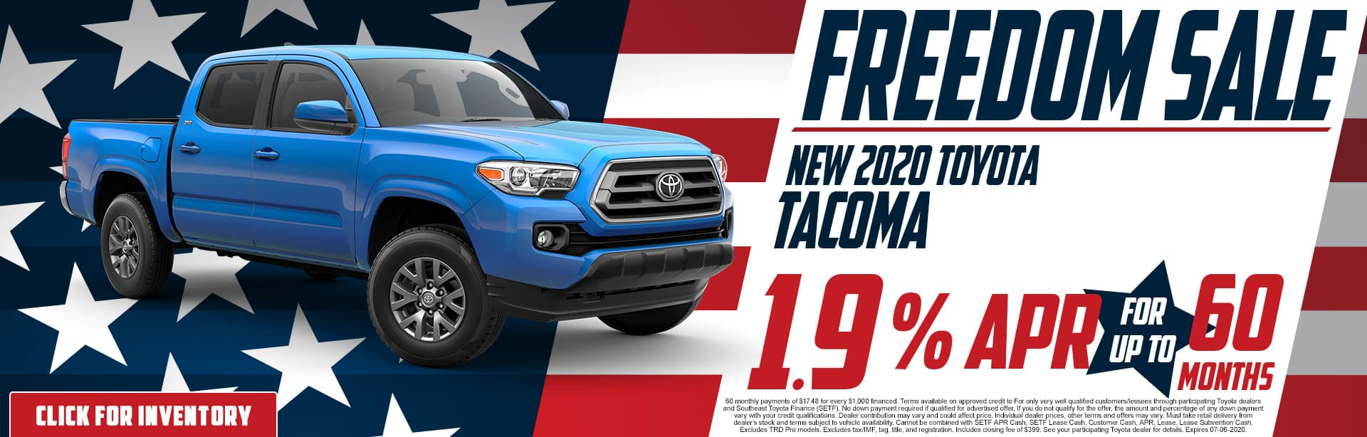 2020 Toyota Tacoma | 1.9% APR for 60 Months