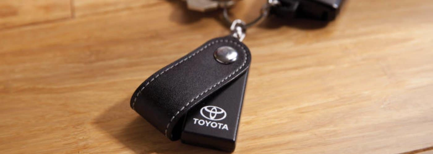Toyota key fob on table