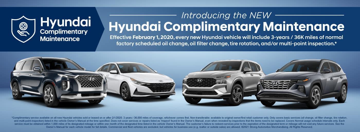 Hyundai Complimentary Maintenance on all new Hyundai vehicles