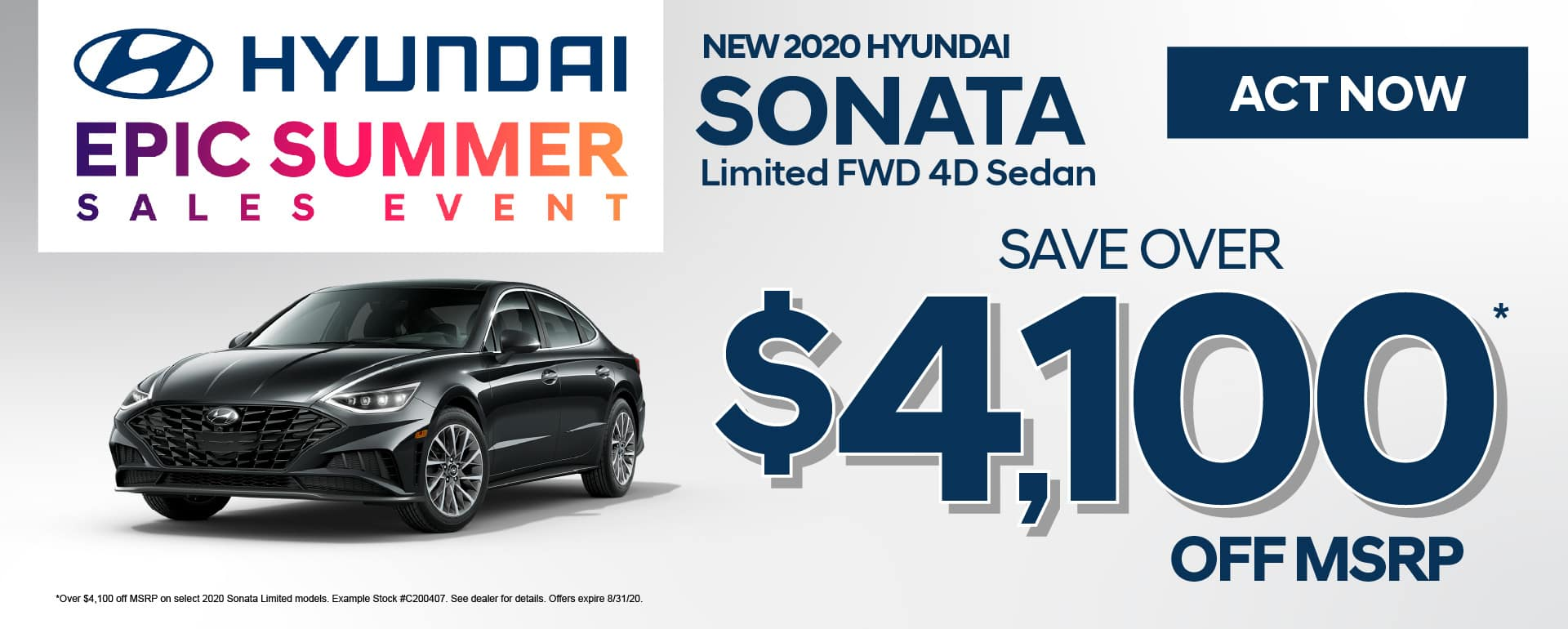New 2020 Sonata Save Over $4,100 off MSRP - click here to view inventory