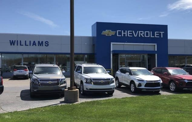 The exterior of the Williams Chevrolet dealership