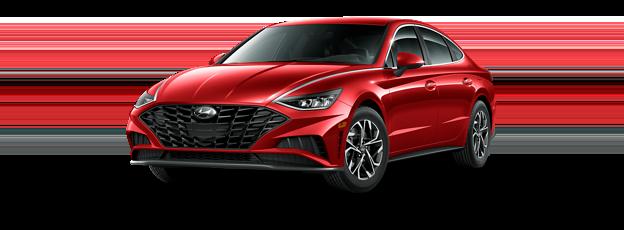 A 2021 Hyundai Sonata SEL in Calypso Red