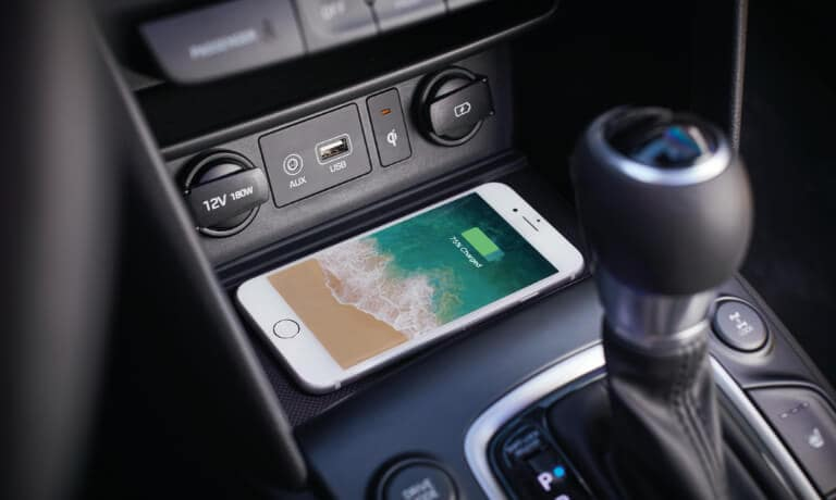 A phone charging in the 2020 Hyunda Kona
