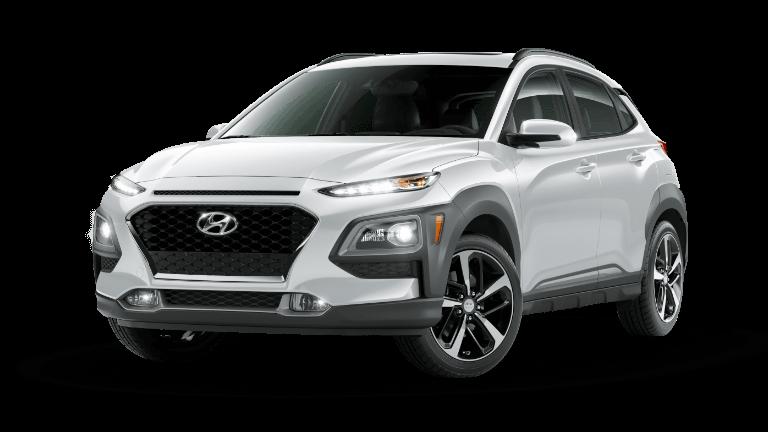 A chalk white 2020 Hyundai Kona