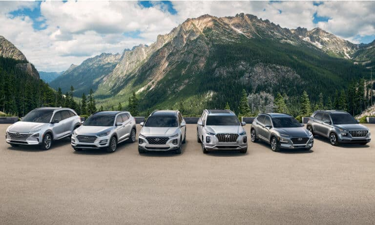 2021 Hyunda model lineup in front of mountains
