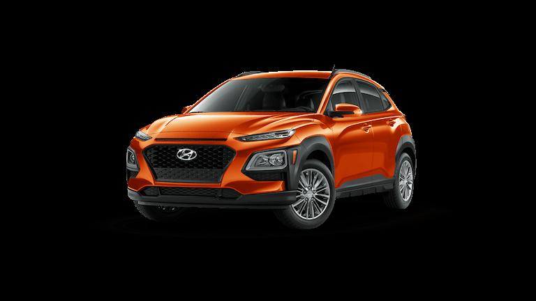 An orange 2020 Hyundai Kona