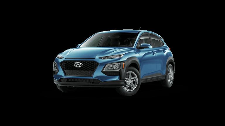 A blue 2021 Hyundai Kona SE