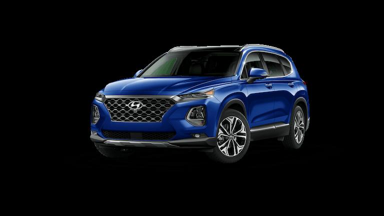 A blue 2020 Hyundai Santa Fe