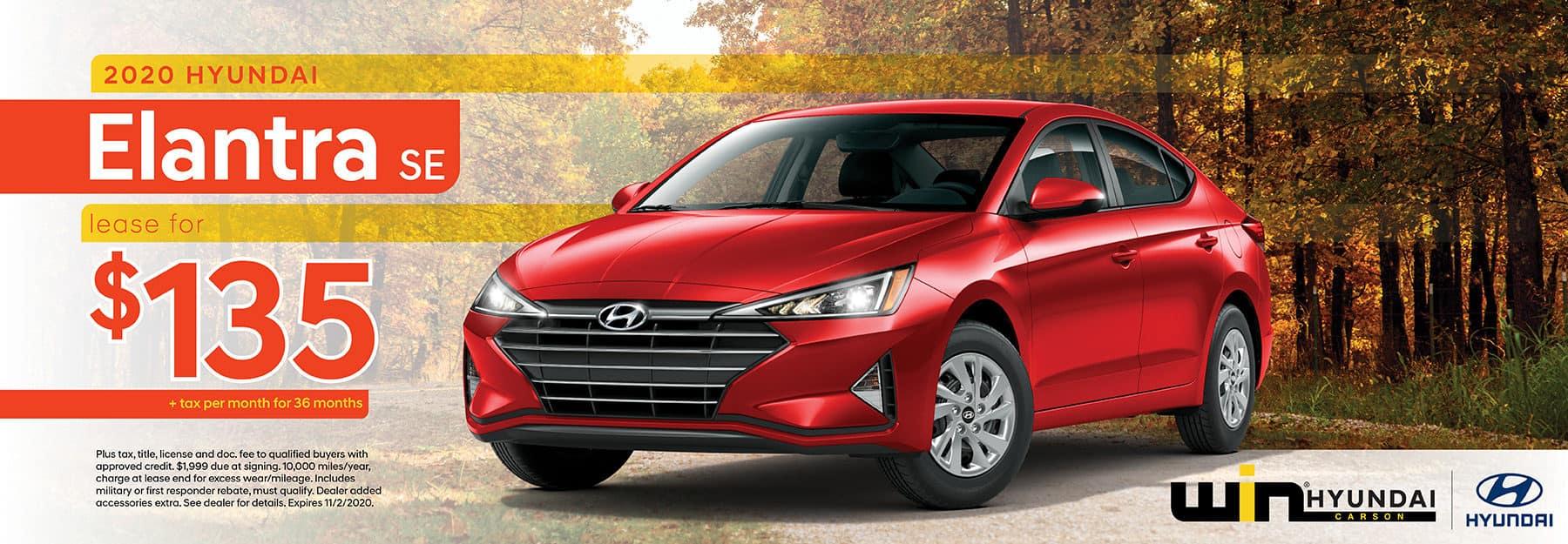 2020 Hyundai Elantra SE Lease for $135 | Carson, CA