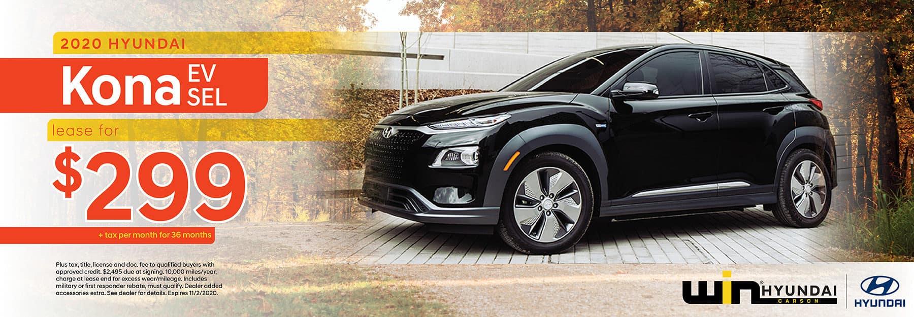 2020 Hyundai Kona EV SEL Lease for $299 | Carson, CA