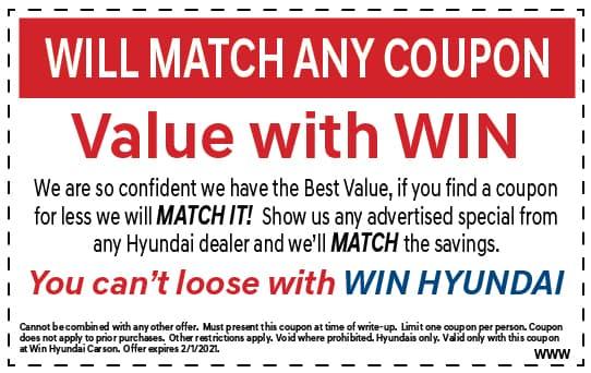 Will match any coupon | WIN Hyundai Carson