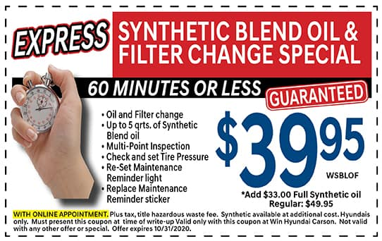 Synthetic Blend Oil and Filter Change!