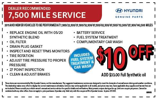 Dealer Recommended 7,500 Mile Service