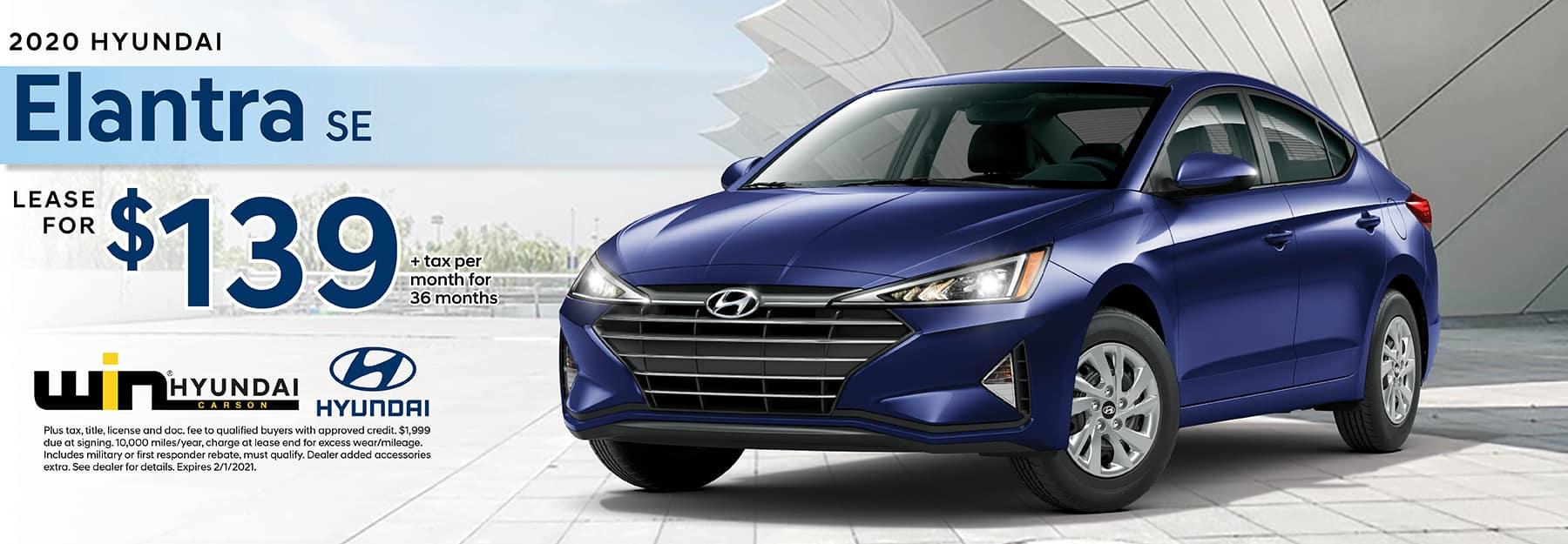 2020 Hyundai Elantra SE Lease for $139 | Carson, CA